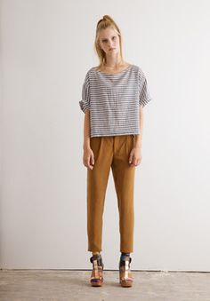 boxy tee/high waisted slouchy pant