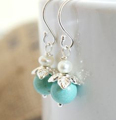Turquoise and Pearl Dangle Earrings Delicate by Jewels2Luv on Etsy, $22.00