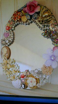 Diy vintage jeweled mirror