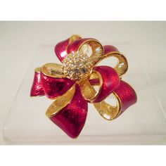 Red Ribbon Brooch Costume Jewelry Roman Brushed Gold Tone Rhinestone... ($15) ❤ liked on Polyvore featuring jewelry