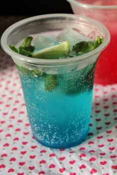 Blue Curacao Mocktail / Blue Curacao Sparkling Mocktail / Non Alcoholic Blue Curacao Drink - Yummy Tummy Summer Drinks, Fun Drinks, Beverages, Summer Fun, Diwali Menus, Blue Curacao Drinks, Panna Recipe, Non Alcoholic Punch