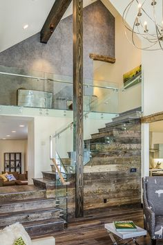 Reclaimed wood staircase by Tahoe Real Estate Photography