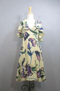 COREY LYNN CALTER Gorgeous Floral Print Silk Capelet Halter Dress sz 8 #shopmodo #modoboutique www.modoboutique.com