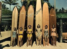 1950's Vintage 10 Foot Long Surfboards and Waikiki Surferwomen.