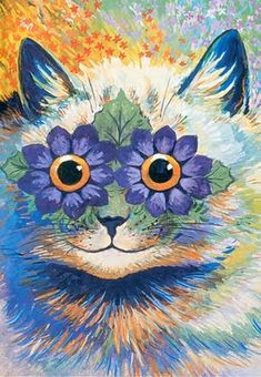 Louis Wain cat, blue flower eyes.