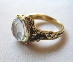 White Topaz and Bronze Woodland Ring $145