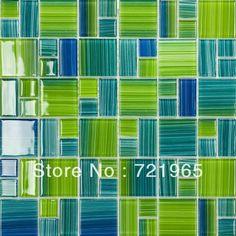 Blue glass mosaic swimming pool tile CGMT110 green glass mosaic kitchen backsplash tile bathroom wall tile glass mosaics