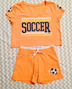 Justice Girls Outfit, Top/Shorts, Bright Orange/Soccer/Glitter. Size 8.  | eBay