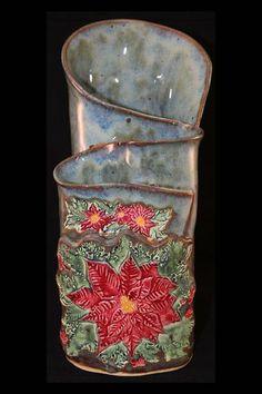 Custom Handbuilt Pottery Wave Vase by KimCreations   Hatch.co