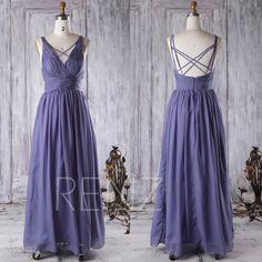2016 Purple Chiffon Bridesmaid Dress Open Back Wedding by RenzRags