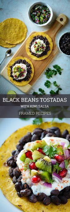 Black beans tostadas