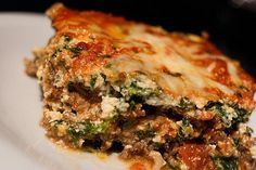 Low carb lasagna - thinly sliced zucchini or eggplant instead of pasta