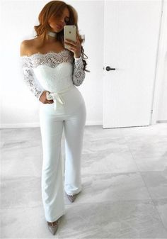 Sexy Strapless Hollow Out Women Summer Jumpsuit Elegant Long Sleeve Solid Female Lace Off Shoulder Patchwork Rompers Overalls White Lace Jumpsuit, Jumpsuit Dress, Summer Jumpsuit, Wedding Pants, Wedding Dress Sleeves, Long Jumpsuits, Jumpsuits For Women, Off Shoulder Outfits, Business Mode