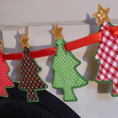 "Christmas Tree Banner In The Hoop Banners Machine Embroidery Designs Applique Patterns all done In-The-Hoop in 5 sizes 5"", 6"", 7"", 8"" and 9"". $4.95, via Etsy."