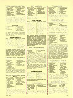 """""""The Woman's Day 1954 Summertime Cook Book"""" Main Dish Recipes from """"Woman's Day""""… Food Dishes, Main Dishes, Polish Recipes, Polish Food, Old Fashioned Recipes, Vintage Recipes, Nutritious Meals, Ladies Day, Summertime"""
