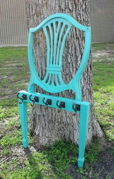Repurpose old chairs... Coat or towel rack