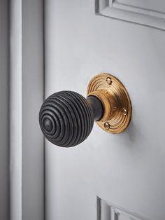 brass home accessories NEW Beehive Door Knob - Black amp; Door Knockers Unique, Door Knobs And Knockers, Black Door Handles, Knobs And Handles, New Beehive, Interior Door Knobs, Black Interior Doors, Door Furniture, Furniture Storage