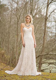 Floral Allover Lace Slim A-Line Gown | Lillian West 6466 | http://trib.al/U2tzk65