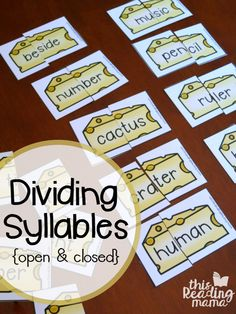 "Are you working on dividing syllables, specifically with open and closed syllables? Your learners won't be able to resist these ""cut the cheese"" syllable cards from my 6 Syllable Types Interactive Pages Pack! *The free download can be found towards the END of this post. Just click on the teal download button. **This post contains …"