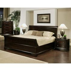 Abbyson Capriva 4 Piece Sleigh Bedroom Collection   Dark Truffle   HM 5050