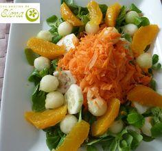 Los Postres de Elena: Ensalada de melón y naranja con aliño de yogur. http://www.lospostresdeelena.com/2011/09/ensalada-de-melon-y-naranja-con-alino.html