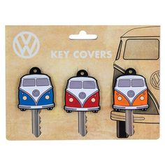Features: - 3 x Rubber Volkswagen Camper Van Key Covers - Red, Blue and Orange coloured Campervans - Each measures approx. 3.5cm (W) x 4.5cm (H) x 5mm (D) - Come presented in VW branded gift packaging