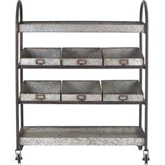 Creative Co-Op is a home, seasonal decor & fashion accessories wholesaler. We offer x x Metal Cart w/ 6 Bins on Casters & more. Check out our website today! Metal Shelves, Open Shelving, Wire Shelving, Farmhouse Style, Farmhouse Decor, Industrial Farmhouse, Industrial Chic, Rustic Style, Antique Farmhouse