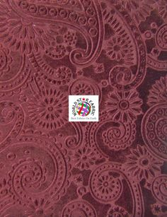 """#Burgundy Future #Paisley Embossed Stretch #Velvet Fabric 56"""" Wide Sold By The Yard"""