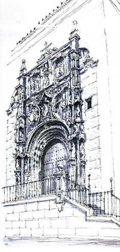 #UrbanSketch, Classical Architecture. Church doors with ornate carved stone. Pen and pencil drawing by Luis Ruiz Flickr - Photo Sharing!