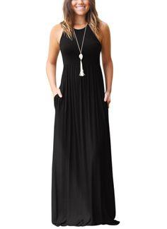 35abbc9027e JustVH Women s Sleeveless Loose Tank Maxi Dress Casual Long Dresses ...