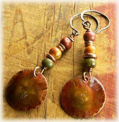 Bear Paw Copper Earrings Red Creek Jasper Handmade OOAK | ChrysalisJewelry - Jewelry on ArtFire