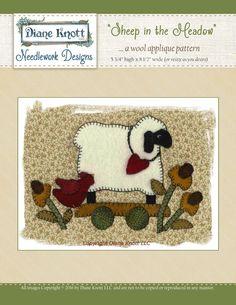 Sheep in The Meadow Wool Applique Pattern Download by Diane Knott LLC by DianeKnottLLC on Etsy