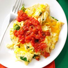 Southwest Tortilla Scramble Recipe -Here's my version of a deconstructed breakfast burrito that's actually good for you. Go for hefty corn tortillas in this recipe. Flour ones can get lost in the scramble. —Christine Schenher, Exeter, California