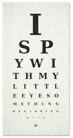 I Spy opticians style chart