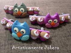 [Polymer clay delicious owls - hairpin!]