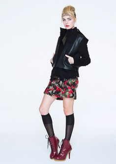 Red & Green #Military #Camouflage Pattern Skirt in #Punk Style  #Fashion #Trend for Fall Winter 2013  LAMBF/W 2013