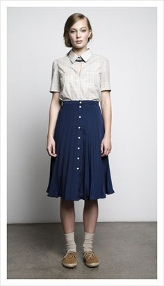 Collared shirt and skirt