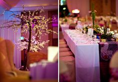 I like the cherry blossoms as tall decorations around the venue and smaller greenery as centerpieces and table decoration. Also love the Asian table runner over a plain white cloth instead of overwhelming with colorful cloth only.