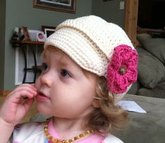 Newsboy Baby Toddler Hat with Brim and 5 by AddysHats on Etsy, $19.00