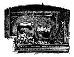 drawing of a old fireplace used for heating the cabin and cooking meals.