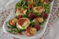 Hoy cocina Vivi: Ensalada templada de vieiras, queso de cabra y frambuesas