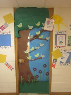 Spring time door with students names on the birds!