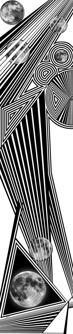 ninth (seven moons) - dynamic black and white, organic abstract, optical obsession, virtual shattered glass - http://fineartamerica.com/featured/ninth-douglas-christian-larsen.html
