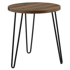 Bronstein Retro Round End Table Retro Side Table, Round Table Top, Wood End Tables, Side Tables, Weathered Oak, Coffee Table Books, Mid Century Design, Wood Veneer, Home Goods