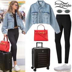 7148283f7f1 Gigi Hadid was spotted arriving at New York after a flight wearing Palmer  Girls x Miss