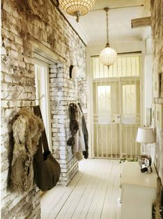 Rough Luxe Hallway Image shared from tenscenicdrive.bl.... White Painted Wood Flooring
