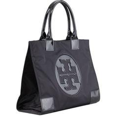 Tory Burch Ella Nylon Tote Bag ($195) ❤ liked on Polyvore featuring bags, handbags, tote bags, zip tote, nylon zipper tote, nylon zippered tote bag, tory burch tote and handbags totes