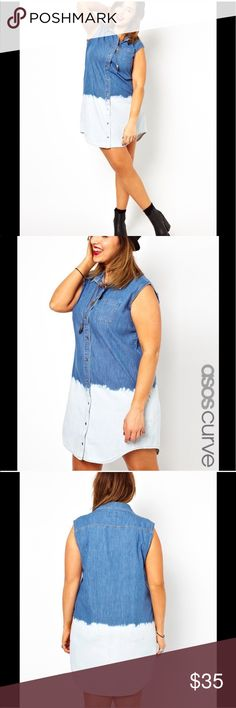 """Denim ombré shirt dress Super cute blue and white denim ombré button up shirt dress. Bought on poshmark but I needed it a size bigger. 28"""" from armpit to armpit, 39"""" total length. ASOS Curve Dresses"""