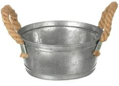 Parlane Small Metal Shallow Pot / Planter With Jute Handles 8.5 x 18.5cm