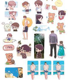 Kai in Hawaii Exo Stickers, Cute Stickers, Exo Fan Art, Girly Drawings, Cute Art Styles, Kpop Fanart, Pretty Art, Doodle Art, Chibi